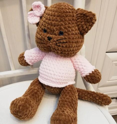 Nertas žaisliukas rudas Katinas RB
